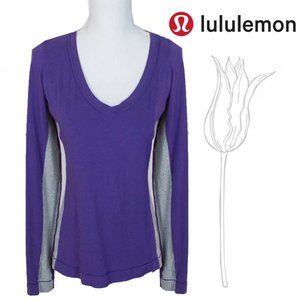 Radiant Long Sleeve Shirt Purple Grey V Neck Top